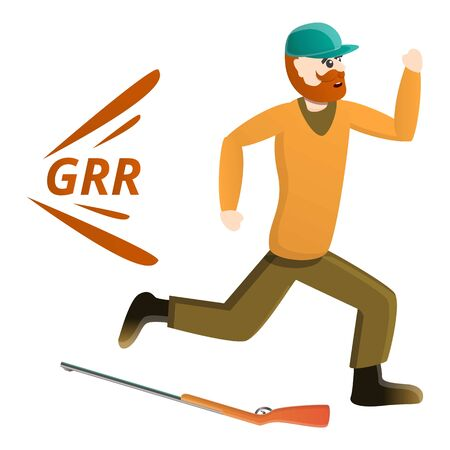 Hunter running away icon. Cartoon of hunter running away icon for web design isolated on white background