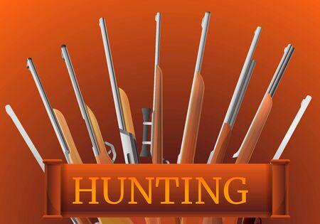 Hunting rifle type concept banner. Cartoon illustration of hunting rifle type concept banner for web design Archivio Fotografico