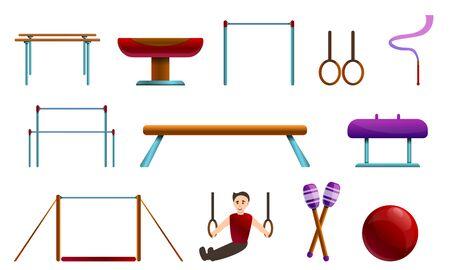 Gymnastics equipment icons set. Cartoon set of gymnastics equipment icons for web design Foto de archivo - 127162162