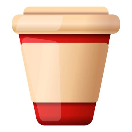 Plastic coffee cup icon. Cartoon of plastic coffee cup icon for web design isolated on white background