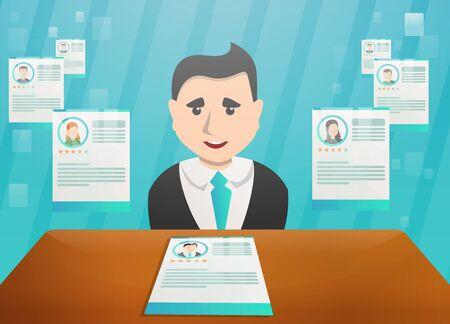 Recruitment concept banner. Cartoon illustration of recruitment concept banner for web design