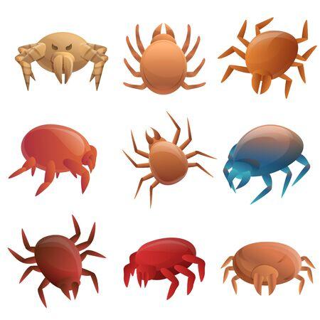 Mite icons set. Cartoon set of mite icons for web design