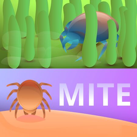 Insect mite banner set. Cartoon illustration of insect mite banner set for web design