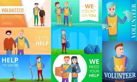 Modern volunteering banner set. Cartoon illustration of modern volunteering banner set for web design Stock fotó