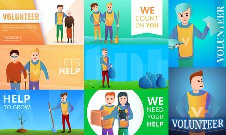 Modern volunteering banner set. Cartoon illustration of modern volunteering banner set for web design Stock Photo
