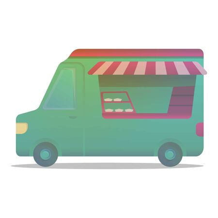 Street shop car icon. Cartoon of street shop car icon for web design isolated on white background