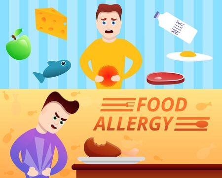 Food allergy banner set. Cartoon illustration of food allergy banner set for web design Stock Photo