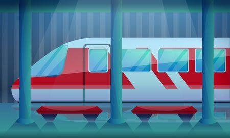 Railway station concept background. Cartoon illustration of railway station v concept background for web design