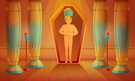 Mummy concept background. Cartoon illustration of mummy concept background for web design