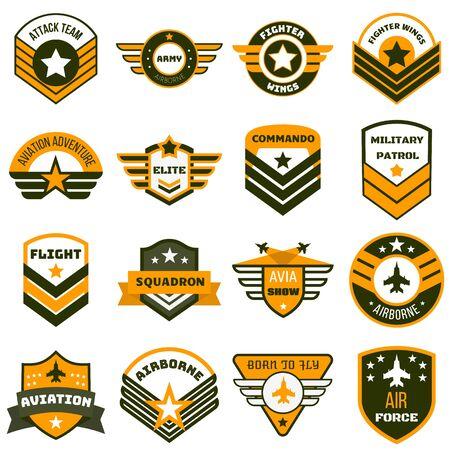 Airforce logo set. Flat set of airforce vector logo for web design Banque d'images - 127163032