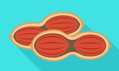 Half peanut shell icon. Flat illustration of half peanut shell vector icon for web design