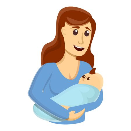 Happy breastfeeding icon. Cartoon of happy breastfeeding vector icon for web design isolated on white background