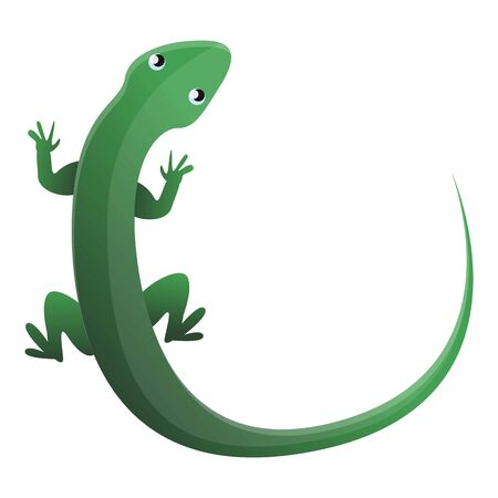 Green top view lizard icon. Cartoon of green top view lizard vector icon for web design isolated on white background