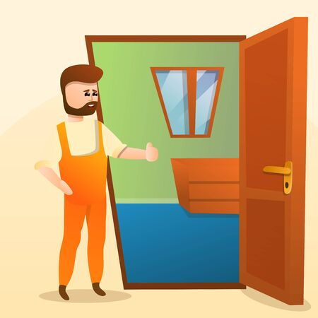 Home locksmith concept background. Cartoon illustration of home locksmith vector concept background for web design