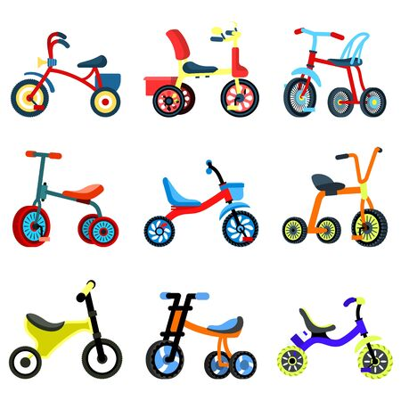 Tricycle icons set. Flat set of tricycle vector icons for web design