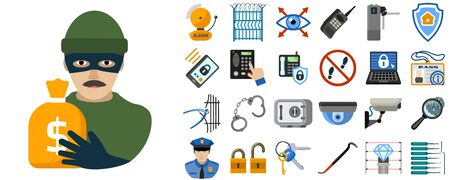 Burglar icons set. Flat set of burglar vector icons for web design