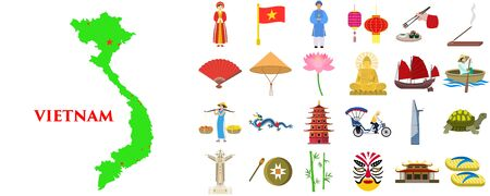 Vietnam icons set. Flat set of vietnam vector icons for web design
