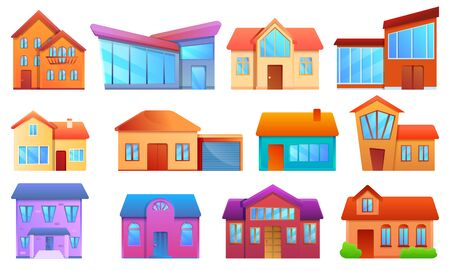 Cottage icons set. Cartoon set of cottage vector icons for web design Foto de archivo - 127171347