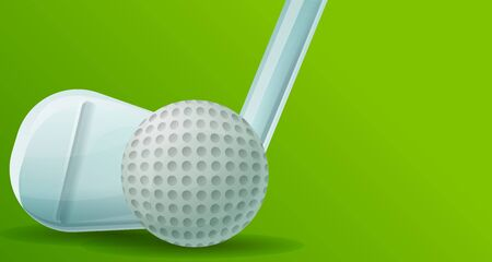 Golf stick ball concept banner. Cartoon illustration of golf stick ball vector concept banner for web design Illustration