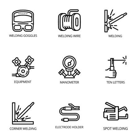 Welder icon set. Outline set of 9 welder vector icons for web design isolated on white background