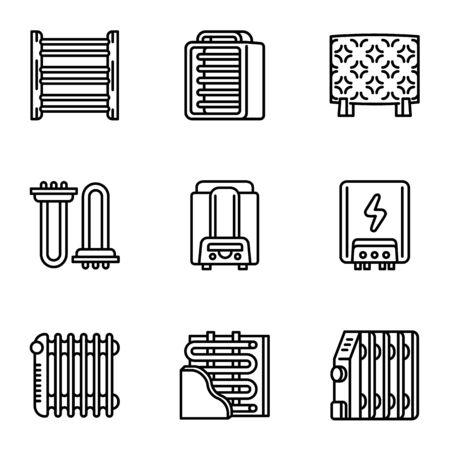Heater icon set. Outline set of 9 heater vector icons for web design isolated on white background