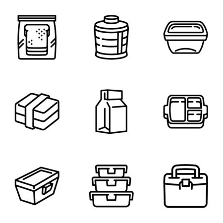 Lunch bag icon set. Outline set of 9 lunch bag vector icons for web design isolated on white background