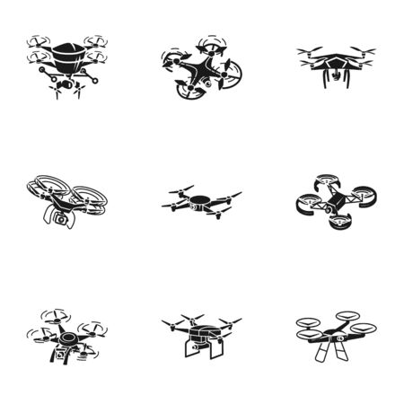 Drone icon set. Simple set of 9 drone vector icons for web design isolated on white background Ilustracja