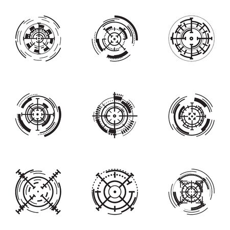Target icon set. Simple set of 9 target vector icons for web design isolated on white background