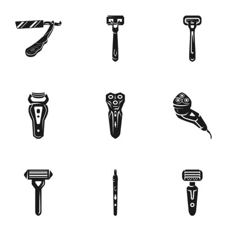 Shaver icon set. Simple set of 9 shaver vector icons for web design isolated on white background