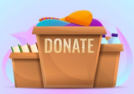 Donate boxes concept background. Cartoon illustration of donate boxes vector concept background for web design