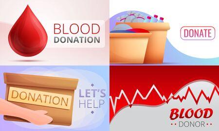 Donations banner set. Cartoon illustration of donations vector banner set for web design