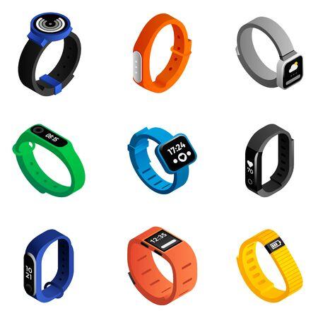 Fitness tracker icons set. Isometric set of fitness tracker icons for web design isolated on white background