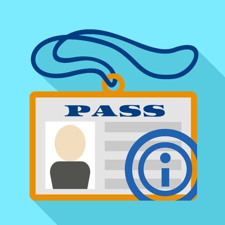 Security id pass icon. Flat illustration of security id pass icon for web design