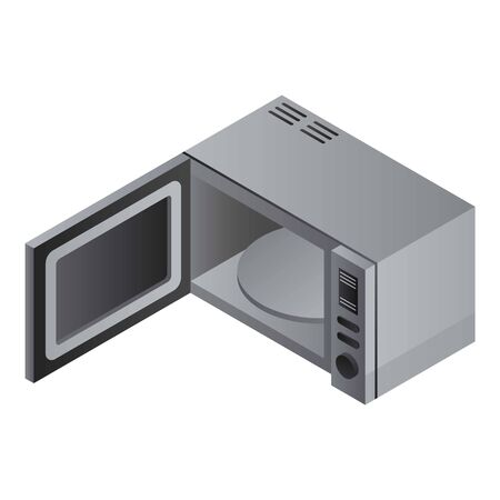 Metal microwave icon. Isometric of metal microwave icon for web design isolated on white background