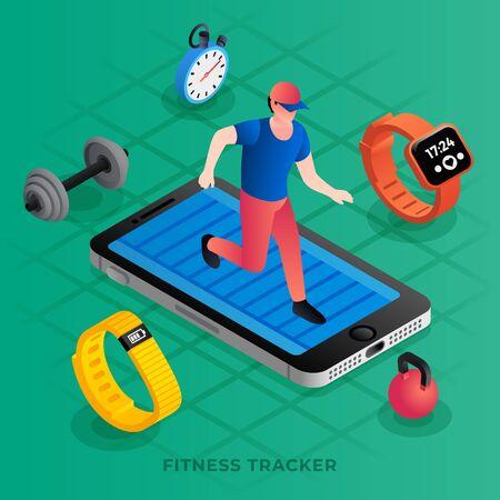 Modern fitness tracker concept background. Isometric illustration of modern fitness tracker concept background for web design