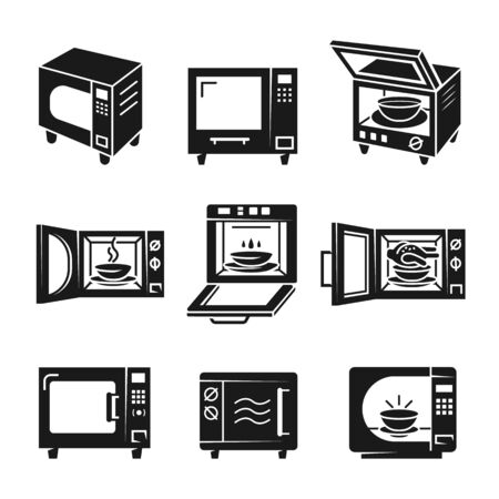 Microwave icons set. Simple set of microwave icons for web design on white background Imagens
