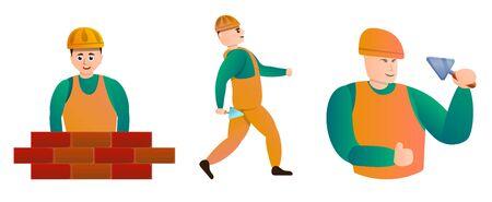 Masonry worker icons set. Cartoon set of masonry worker icons for web design Фото со стока