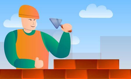 Masonry worker tools concept banner. Cartoon illustration of masonry worker tools concept banner for web design