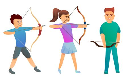 Archery icons set. Cartoon set of archery icons for web design Stock Photo