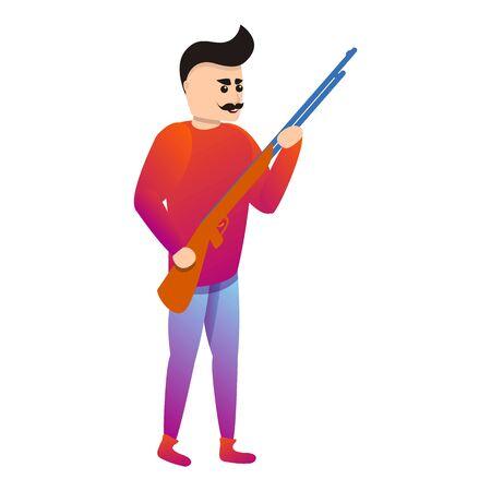Man ready for shooting icon. Cartoon of man ready for shooting icon for web design isolated on white background Stok Fotoğraf - 127708811
