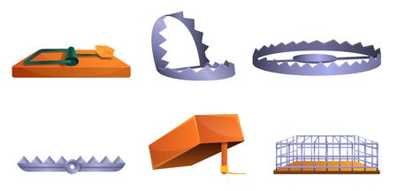 Trap icons set. Cartoon set of trap icons for web design Stock Photo - 127707906