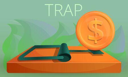 Money trap concept banner. Cartoon illustration of money trap concept banner for web design