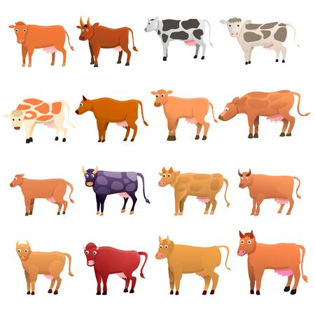 Cow icons set. Cartoon set of cow icons for web design 写真素材