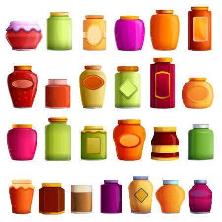 Jam jar icons set. Cartoon set of jam jar icons for web design