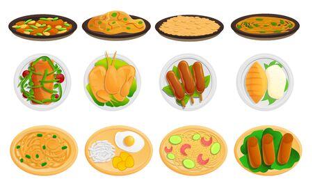 Thai food icons set. Cartoon set of thai food icons for web design Stock Photo