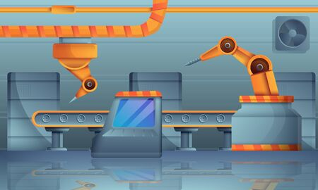 Assembly line concept banner. Cartoon illustration of assembly line concept banner for web design