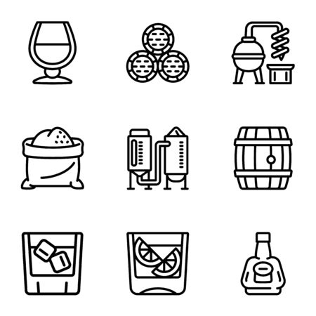 Whiskey icon set. Outline set of 9 whiskey vector icons for web design isolated on white background Illusztráció