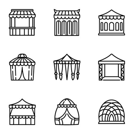 Event tent icon set. Outline set of 9 event tent vector icons for web design isolated on white background  イラスト・ベクター素材