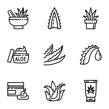 Aloe vera icon set. Outline set of 9 aloe vera vector icons for web design isolated on white background Stock fotó - 129735807
