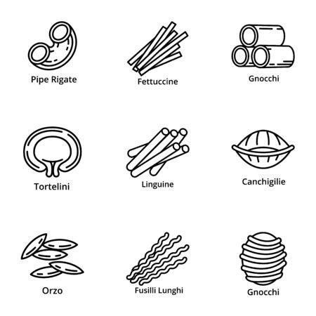 Italienische Pasta-Icon-Set. Umreißen Sie einen Satz von 9 italienischen Pasta-Vektorsymbolen für das Webdesign, die auf weißem Hintergrund isoliert sind